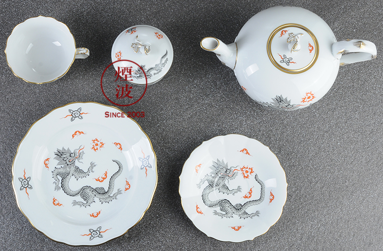 German mason new clipping black Ming dragon MEISSEN porcelain teapot teacup tea set group