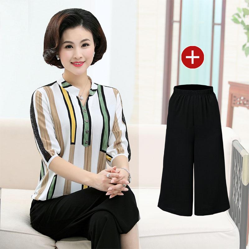 2018新款中老年女装两件套夏季中年女妈妈夏装套装短袖T恤40-50岁