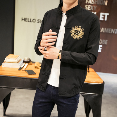 Chinese style Chinese clothing Hanfu Chinese style Men's linen jacket Spring and autumn Youth Cotton Men's jacket National costume