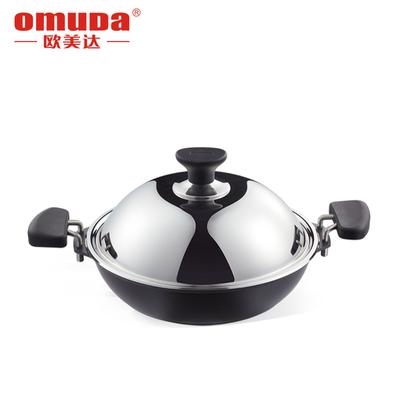 欧美达铸铁锅炒菜锅铸造炒锅无油烟锅具物理不粘锅33cm带盖
