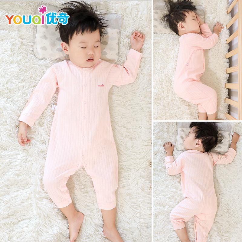 优奇婴儿连体衣纯棉衣服新生儿宝宝长袖睡衣秋季男女幼儿春秋冬装