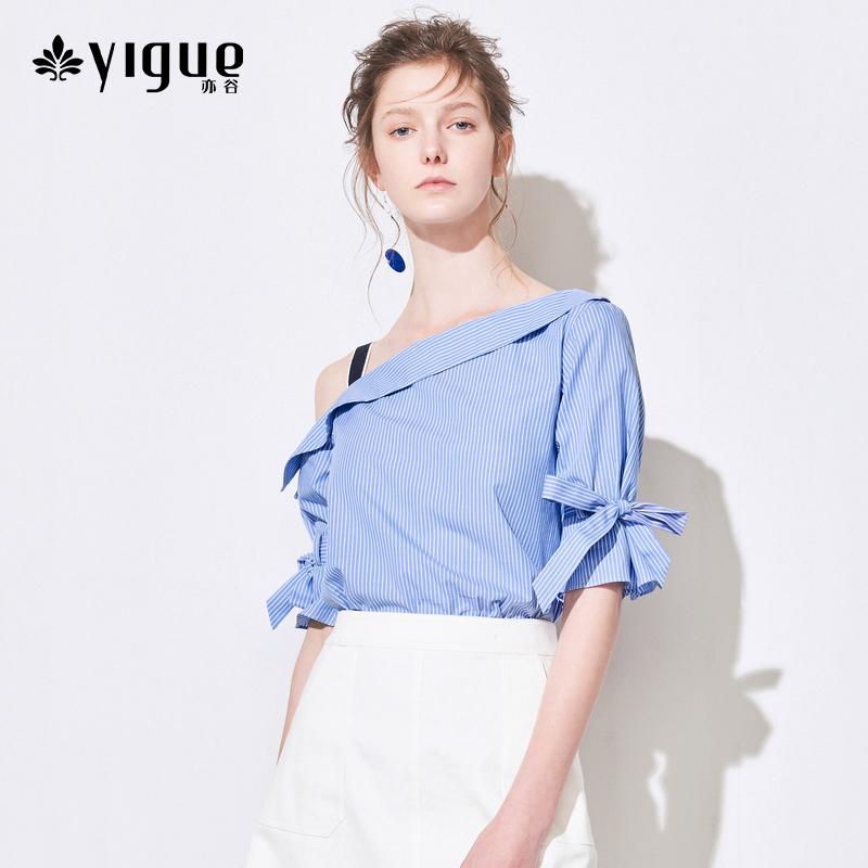 亦谷2018夏装新款单边不对称一字肩显瘦条纹系带中袖上衣衬衫女
