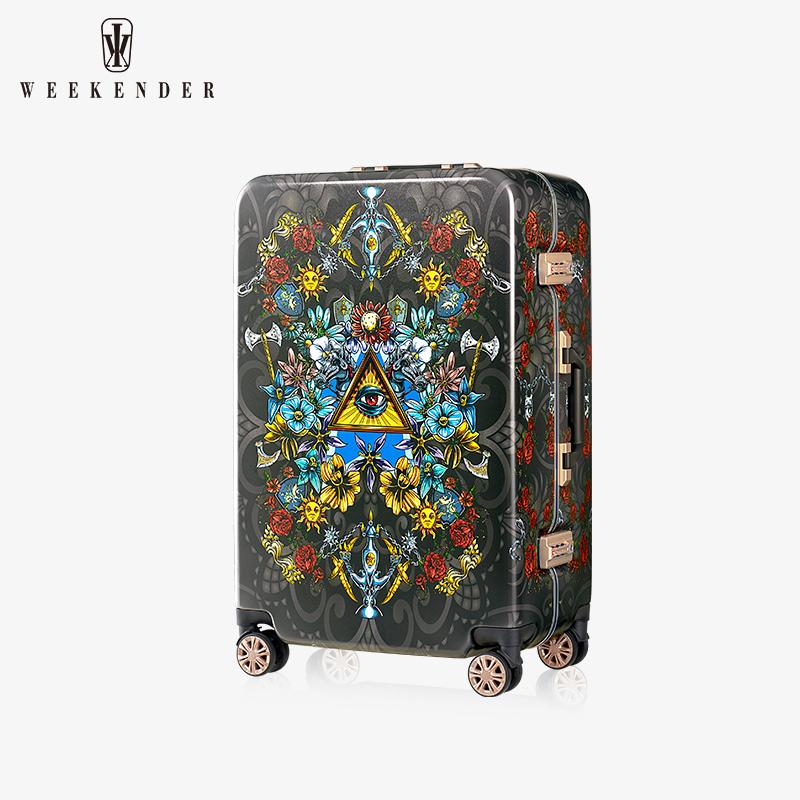 Weekender铝框拉杆箱20手绘塔罗牌登机行李箱男潮24寸密码旅行箱