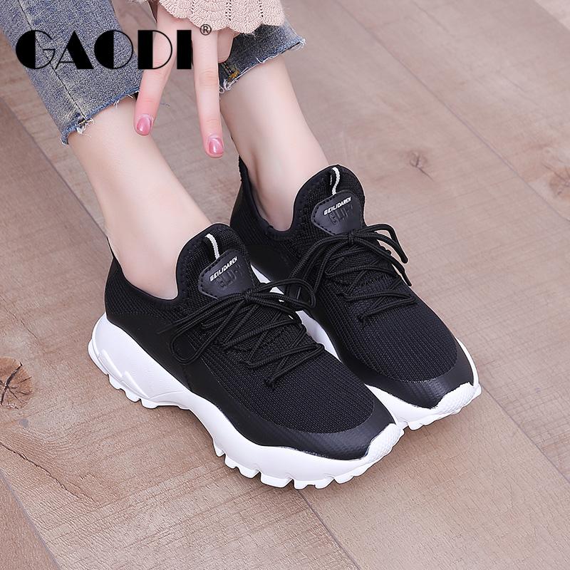 高蒂女鞋松糕底运动鞋春季2018新款韩版学生百搭内增高休闲鞋子女