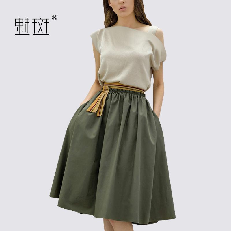魅斑一字领上衣裙子漏肩套装女夏季2018新款气质淑女小香风两件套