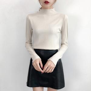 实拍 2018秋冬新款毛衣女半高领长袖修身打底衫女新款套头针织衫