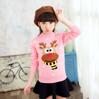 Girls sweaters thickened hedge sweater 2017 autumn and winter new children's knit bottoming shirt children's clothing