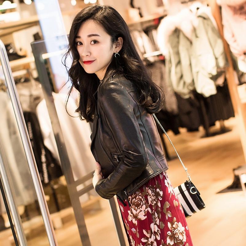 真皮皮衣女短款修身显瘦机车小2018新款韩版羊皮海宁高腰夹克外套