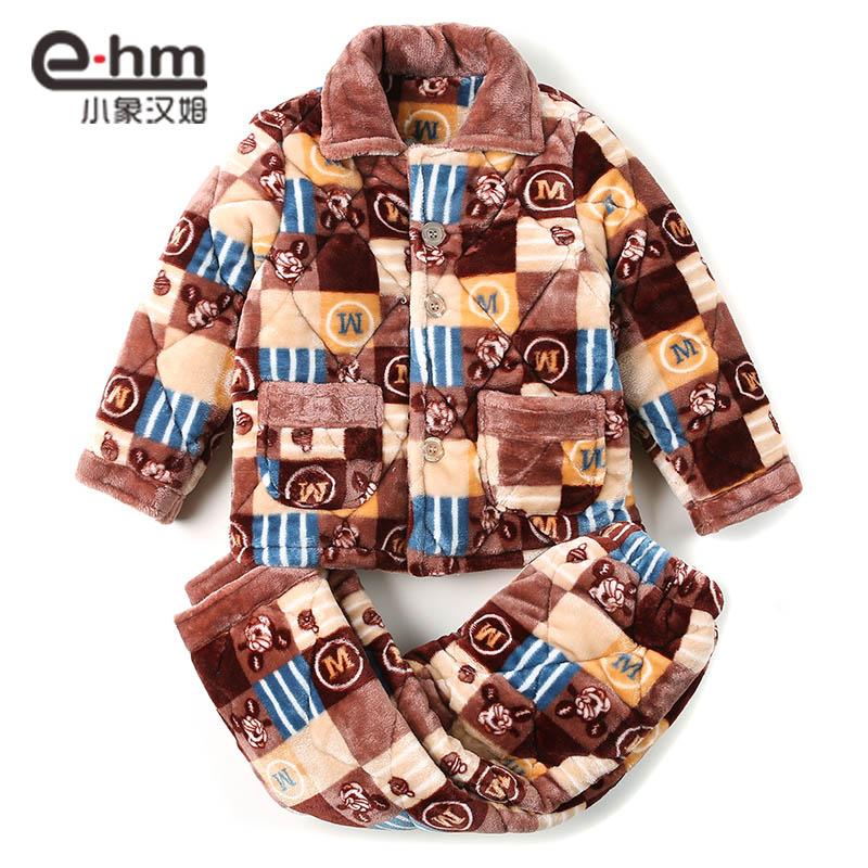 小象 冬季加厚长袖法兰绒儿童睡衣男童 男孩珊瑚绒家居服套装童装产品展示图3