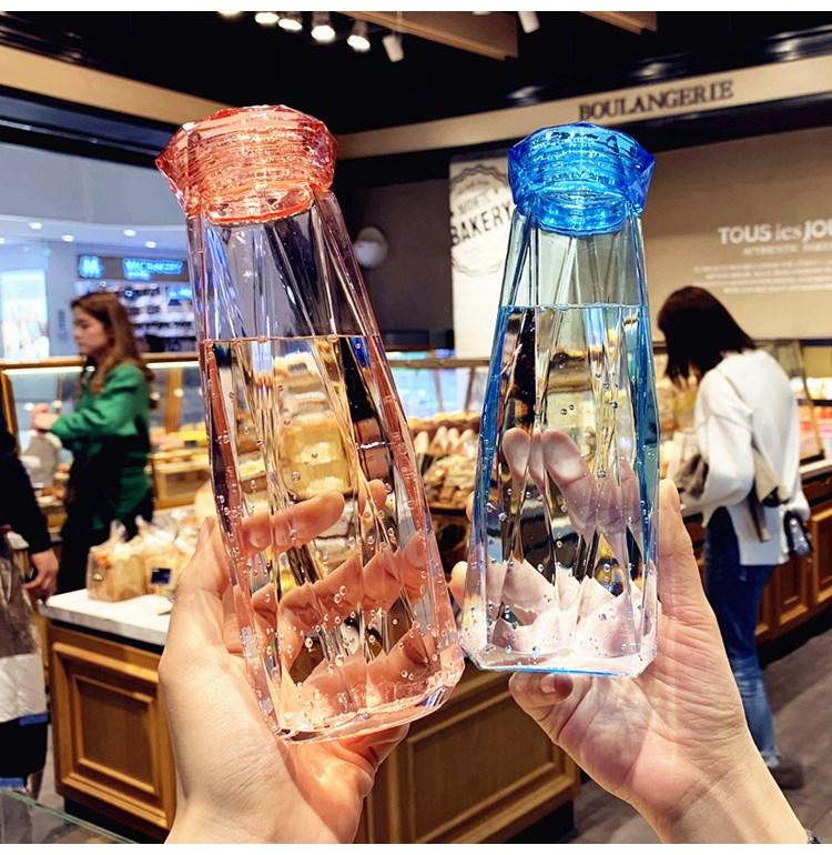 星空钻石水杯创意玻璃杯透明钻杯个性情侣杯500ml