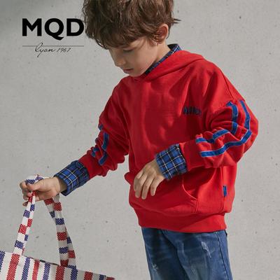 MQD童装男童卫衣连帽18秋新款中大童宽松儿童印花