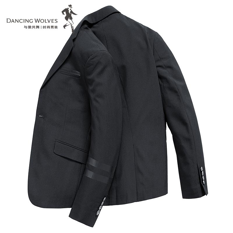 与狼共舞西服男士外套2018秋装新款韩版修身单西黑色暗纹休闲西装