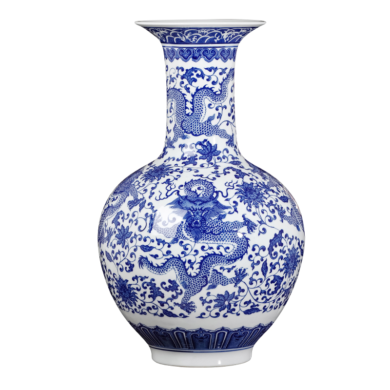 Chinese jingdezhen ceramics imitation GuLongWen blue and white porcelain vase, large living room TV cabinet porch decorate furnishing articles