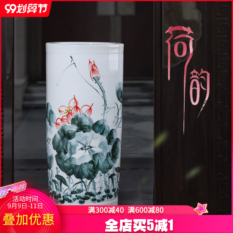 Jingdezhen ceramic hand - made painting and calligraphy cylinder scroll study calligraphy and painting identifiers cylinder decorative vase furnishing articles large living room