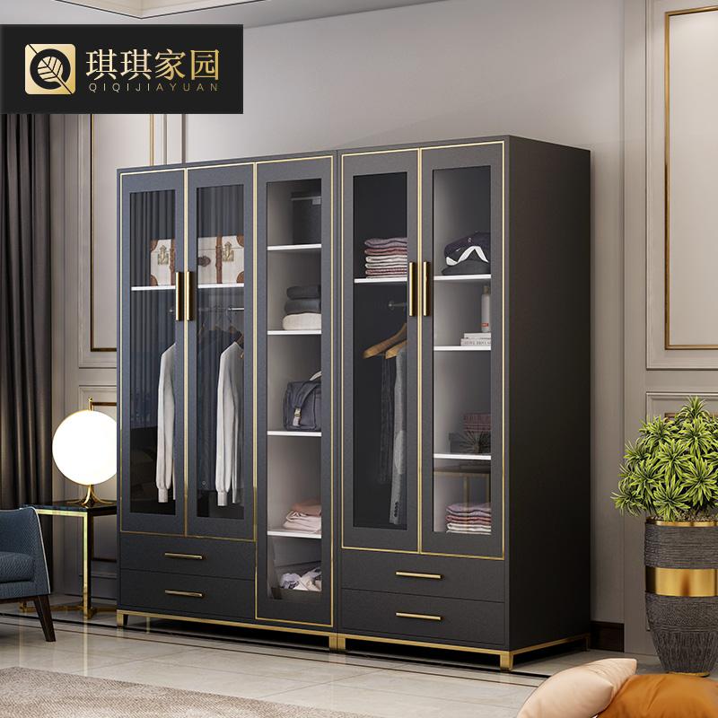 琪琪家园平开门衣柜后现代简约主卧室房间钢化玻璃衣橱板式立柜子