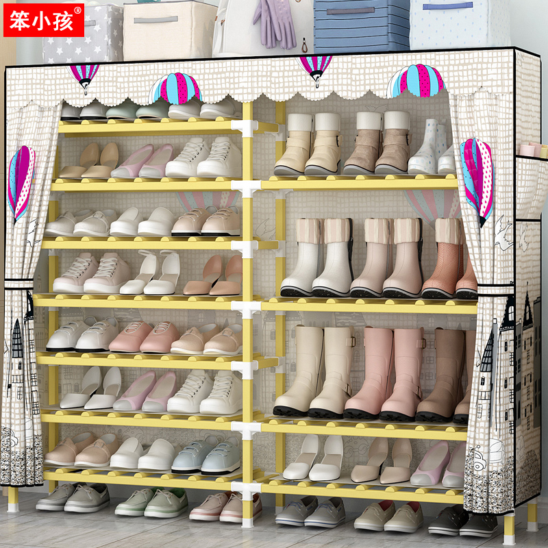 Simple shoe rack home economical solid wood assembly Oxford cloth dustproof multi-layer shoe cabinet dormitory space shoes rack