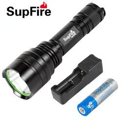 SupFire神火强光手电筒可充电远射T6/L2 LED家用骑行防水手电C10