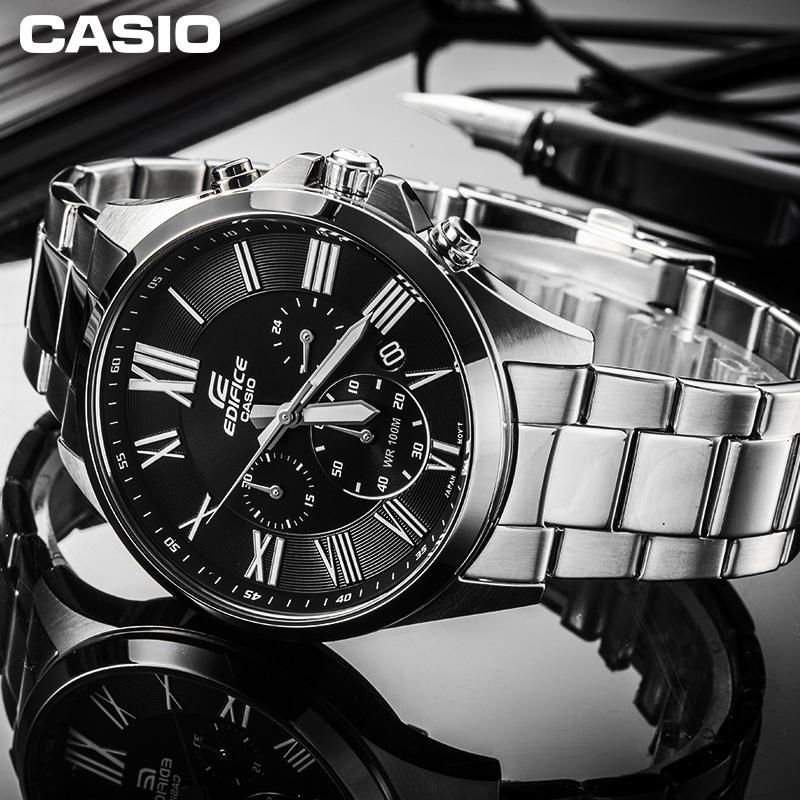 casio旗舰店EFV-500D钢带防水男士手表卡西欧官网EDIFICE官方正品