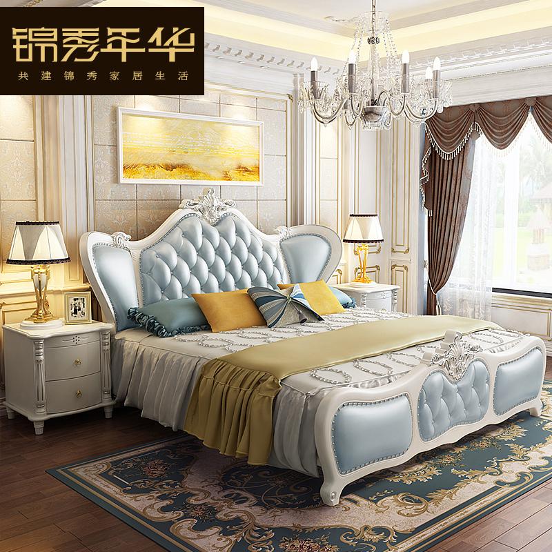 欧式皮床双人床婚床主卧大床真皮床1.8米简欧皮床2018新款床软床