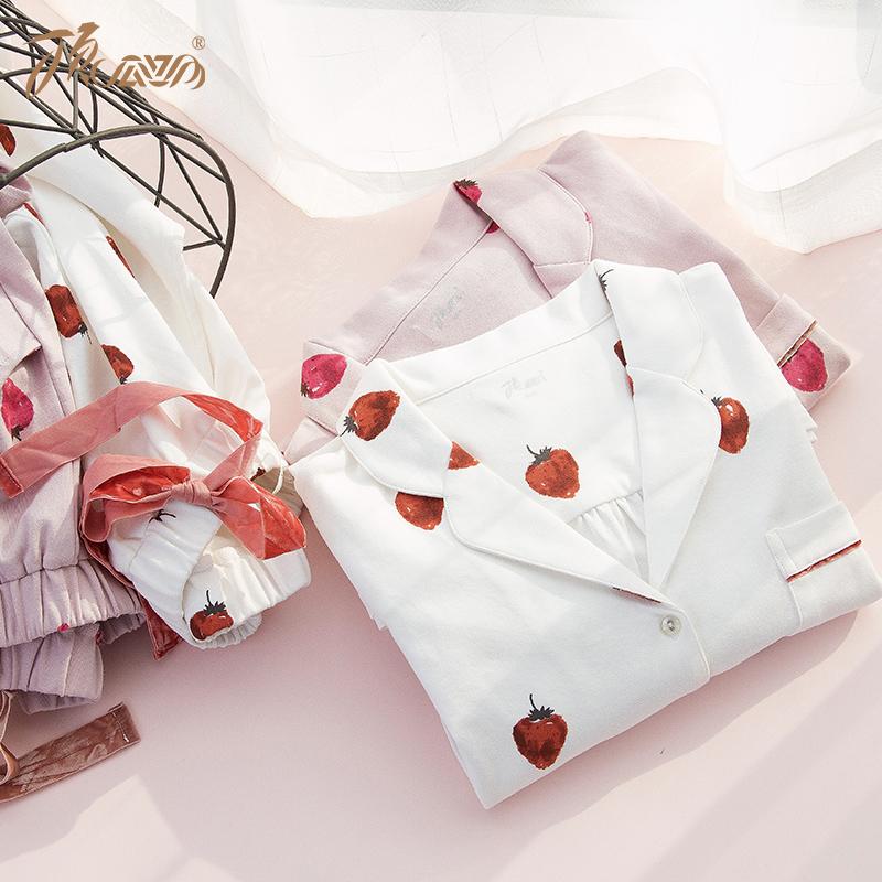 顶瓜瓜草莓家居服女秋季可爱草莓甜美长袖全棉女家居服套装顶呱呱