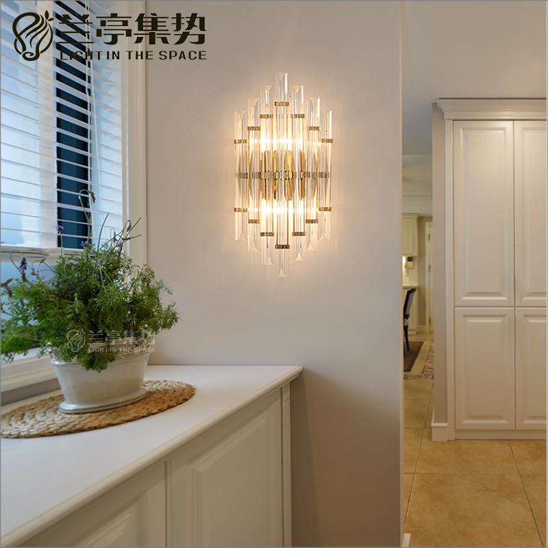 兰亭集势后现代设计师样板房创意水晶壁灯个性卧室床头背景过道灯