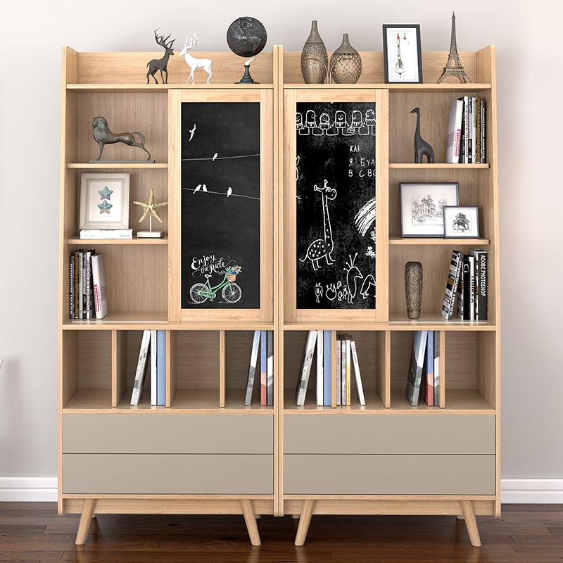 北欧书柜实木简约现代书柜书架组合现代简约格子创意书柜原木色