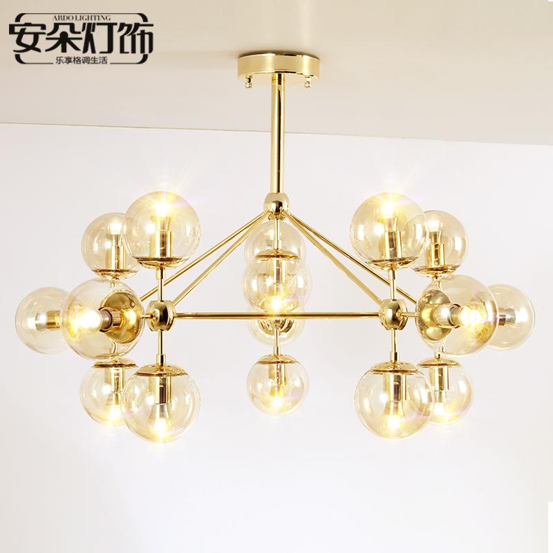 北欧灯具后现代金色魔豆吊灯简约创意个性轻奢玻璃球餐厅艺术灯饰