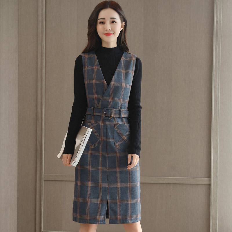 2018秋季冬新款格子连衣裙中长款显瘦A版裙两件套装裙毛呢背心裙