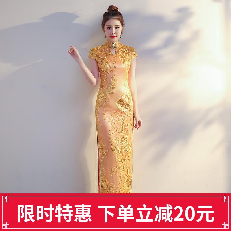 少女旗袍礼服女长款2018亚博线上开户秋季金色时尚显瘦晚会宴会走秀演出服