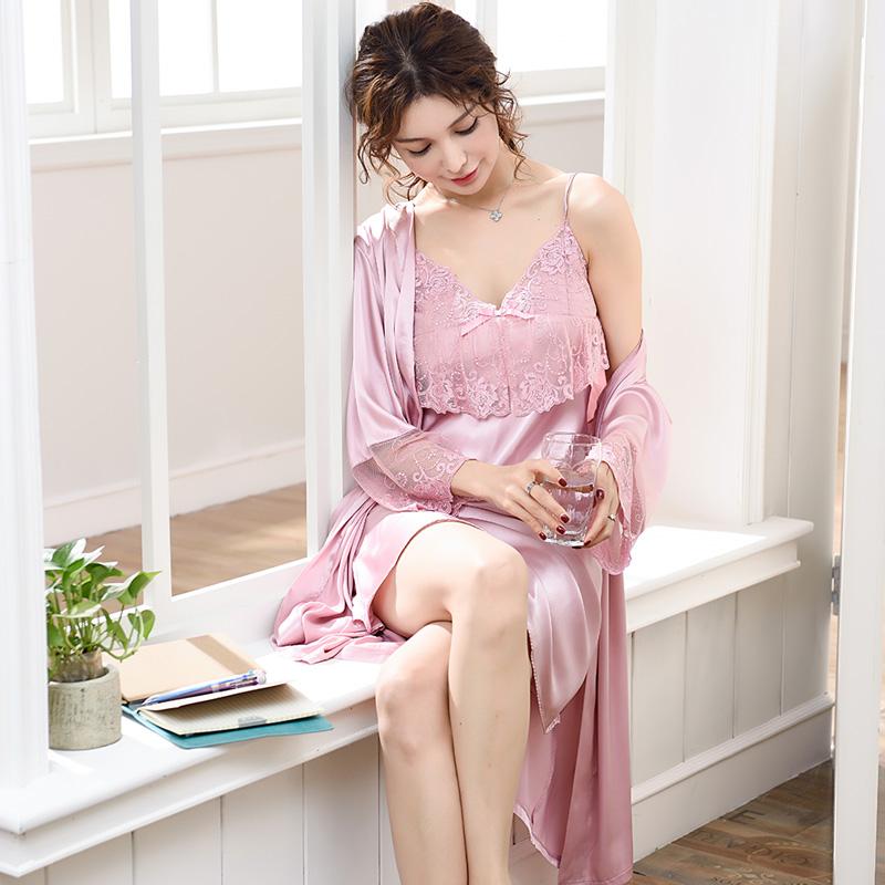 睡衣女夏天睡裙冰丝性感吊带两件套丝绸蕾丝夏季宫廷风中裙睡袍