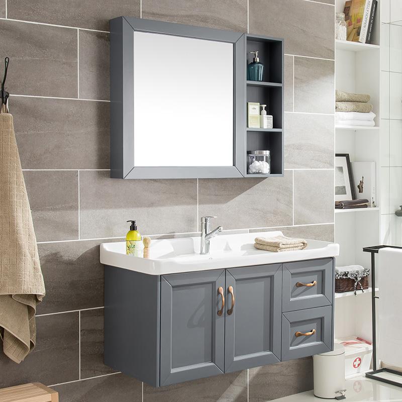 北欧卫生间洗脸盆柜组合现代简约浴室柜地中海挂墙式洗手盆洗漱台