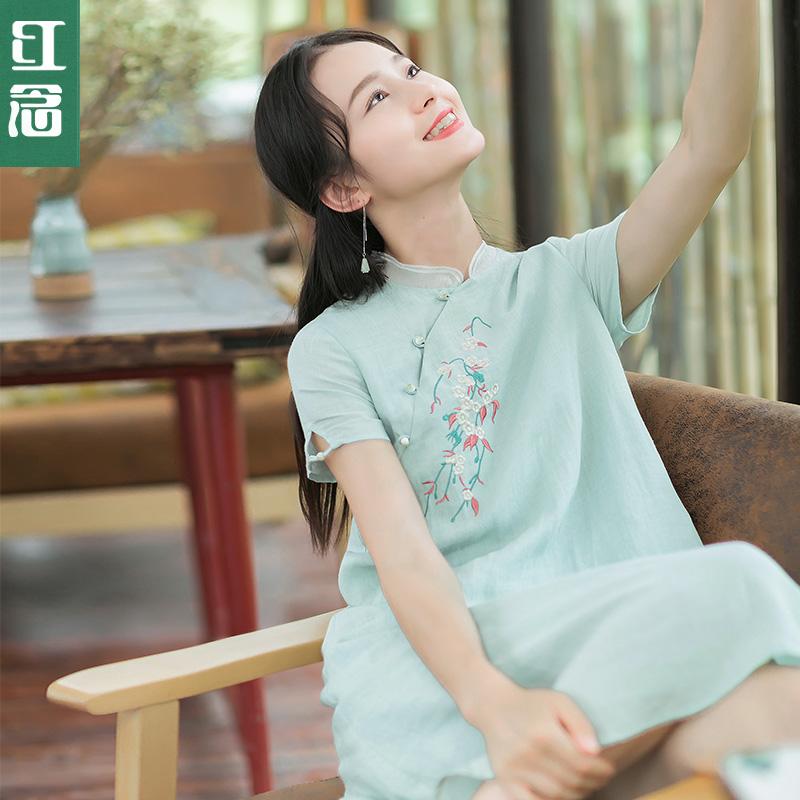 红念小个子绿色苎麻连衣裙女夏2018新款文艺刺绣改良旗袍裙中裙子