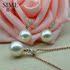 思漫珠宝 正圆强光南洋白珠吊坠耳钉14K金海水珍珠吊坠套装饰品