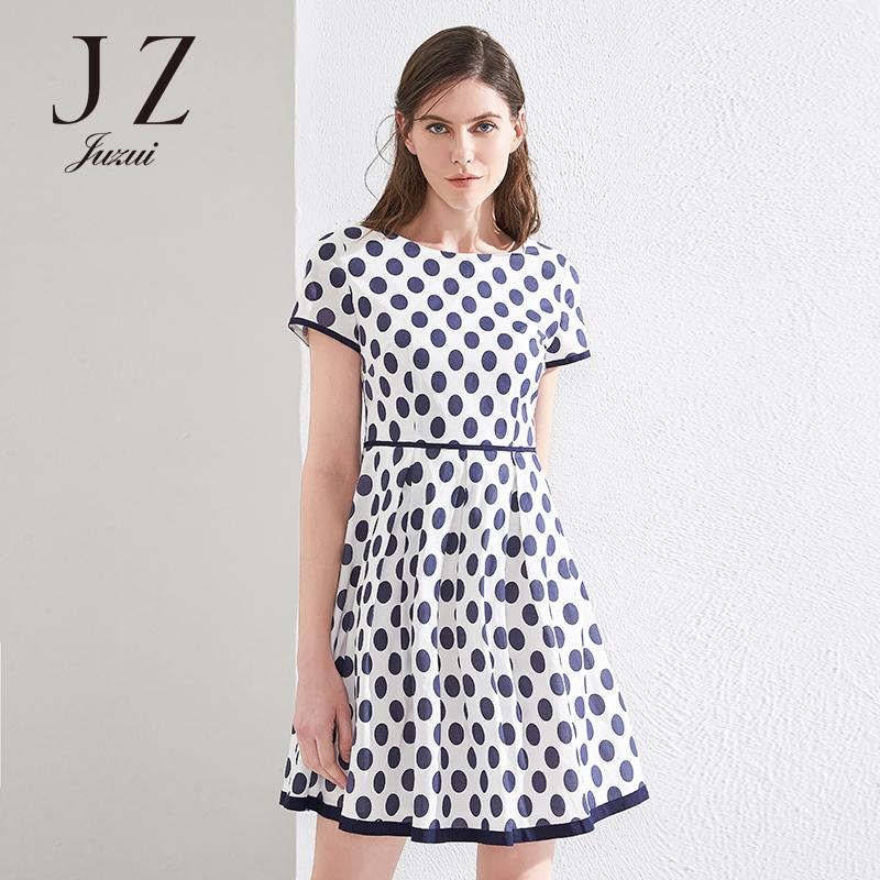 JUZUI-玖姿官方旗舰店夏季新款连衣裙女蓝白波尔卡圆点裙子