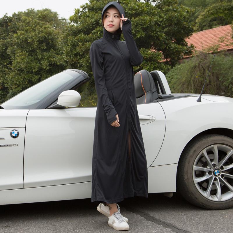 Lzfuv-略知皮毛防晒风衣女连帽UPF50+中长款2017夏新款时尚薄外套