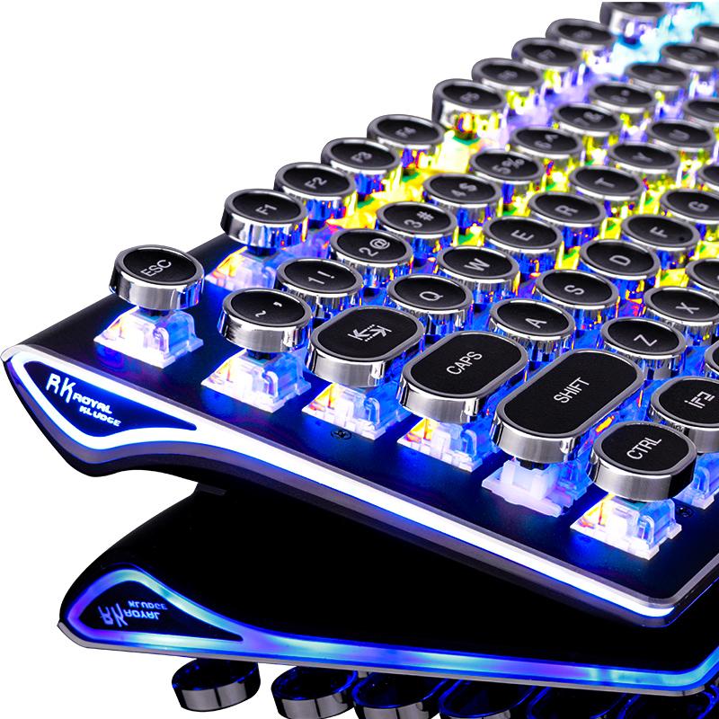 RK蒸汽复古朋克圆键真机械键盘RGB吃鸡电竞游戏有线台式笔记本电脑usb青轴黑轴茶轴网吧网咖徐老师miss外设