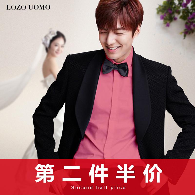 结婚兄弟装团服男士长袖礼服粉色衬衣红色婚礼帅气新郎结婚衬衫