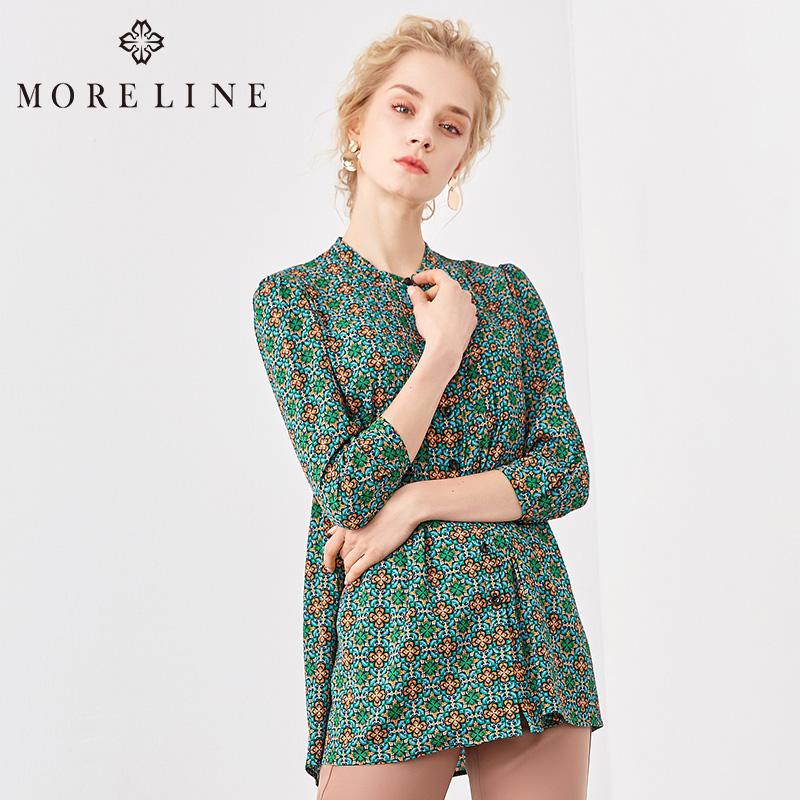 MORELINE沐兰2018春新款长袖立领梭织长袖衫1253321