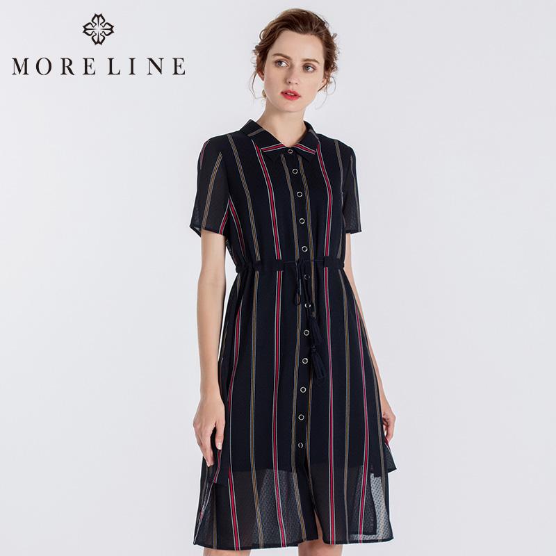 MORELINE沐兰2018夏装新款经典翻领收腰短袖连衣裙女A字18325503