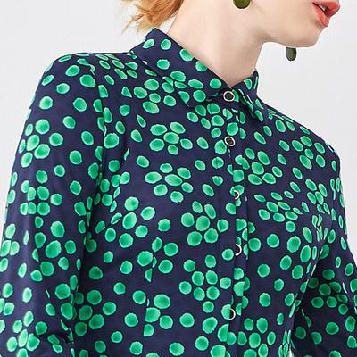 MORELINE沐兰2018春装新款经典收腰绿波点长袖衬衫上衣女18154801