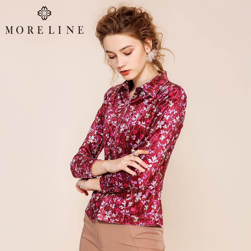 MORELINE沐兰2018秋季新品翻领修身红色小碎花长袖衬衫18658641