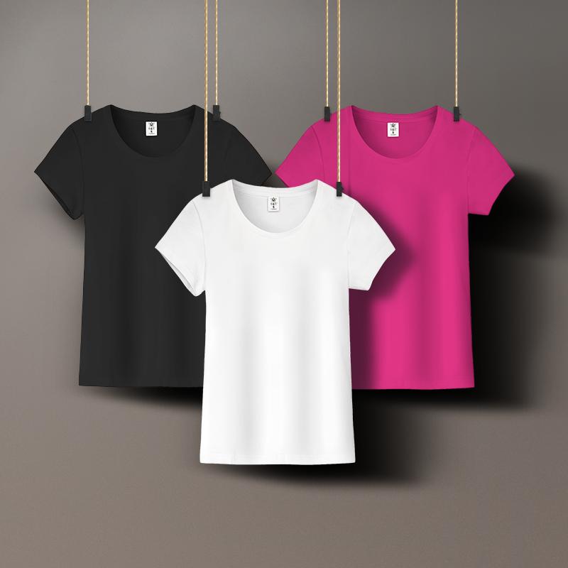 纯棉白色t恤女短袖修身圆领百搭夏装黑色简约运动ins潮打底衫半袖