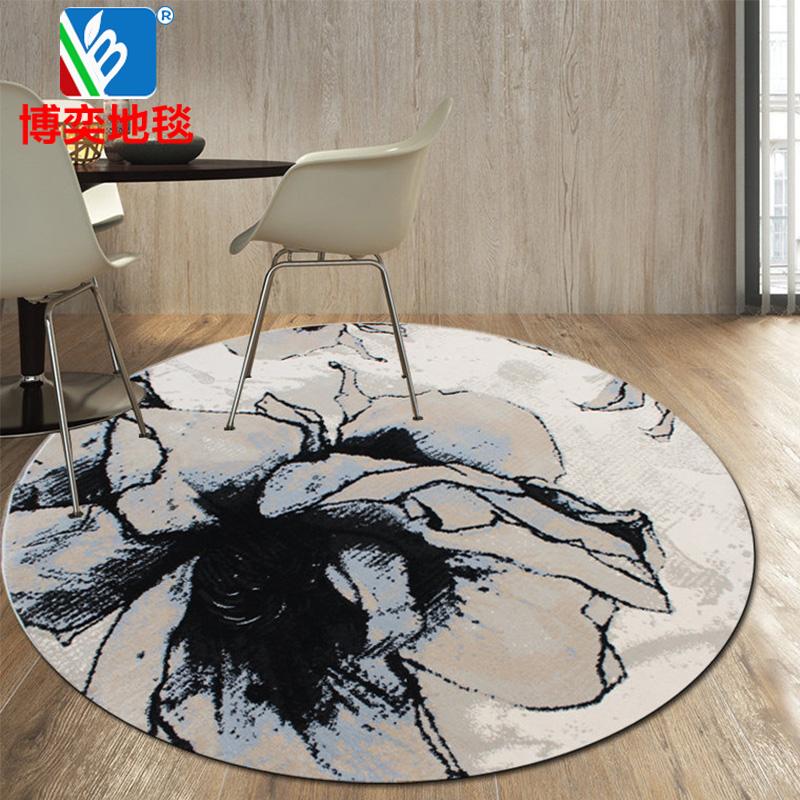 博奕地毯 土耳其进口简约水墨抽象客厅地毯 书房地毯 茶几毯 圆形