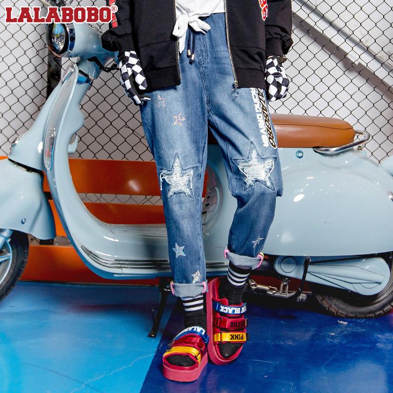 LALABOBO 2018春装新款五角星破洞抽绳牛仔裤|L02A-WXCK19