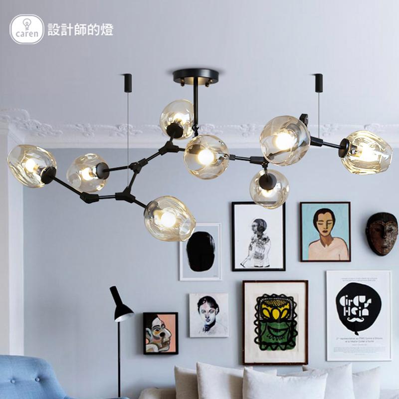设计师的灯 美式卧室书房北欧简约客厅莫道灯LED铁艺玻璃泡吊灯