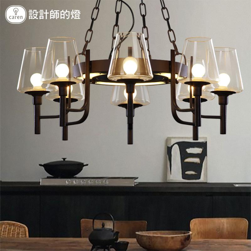 设计师的灯美式复古创意餐厅客厅吧台个性铁艺LED时尚工业风吊灯
