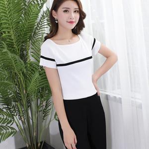 夏季新款短款短袖一字领套头毛针织衫女生黑白条纹修身显瘦打底衫