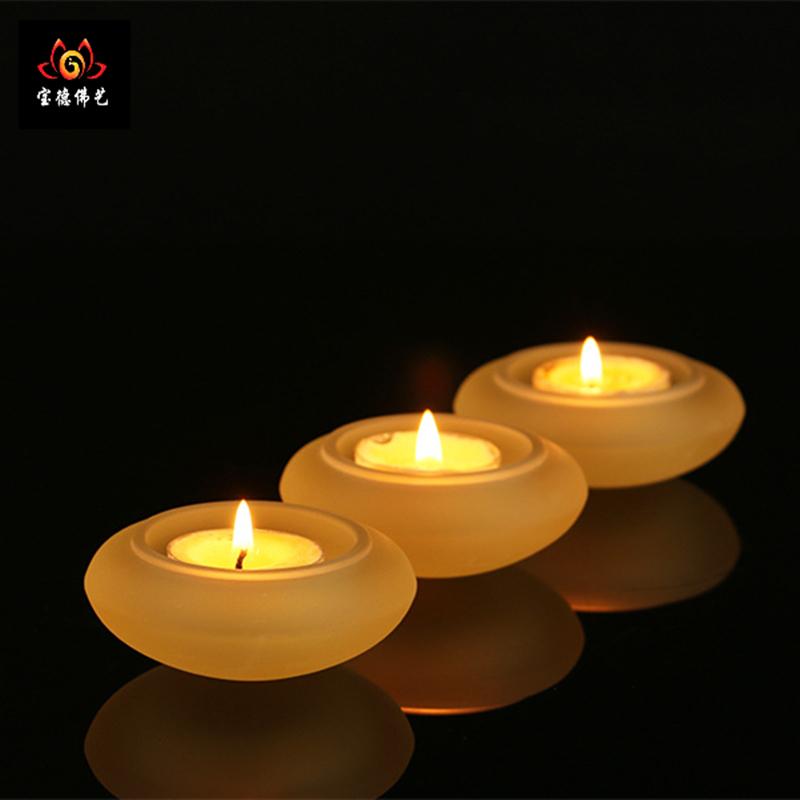 古法琉璃简约款烛台 莲花酥油灯底座 供佛长明灯架图片