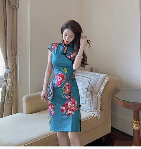 实拍 新款夏季性感改良修身包臀复古花色短袖旗袍连衣裙8027...