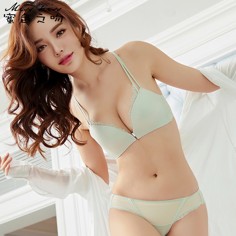 9a475afe6af3 Honey Kiss Sexy Front Buckle Lace No Steel Ring No Trace Beauty Back  Underwear Girl Small